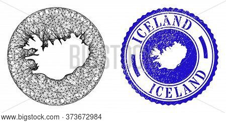 Mesh Hole Round Iceland Map And Scratched Stamp. Iceland Map Is Subtracted From A Round Stamp Seal.
