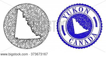Mesh Stencil Round Yukon Province Map And Scratched Seal Stamp. Yukon Province Map Is A Hole In A Ci