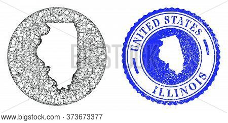 Mesh Hole Round Illinois State Map And Grunge Seal. Illinois State Map Is Carved In A Circle Stamp S