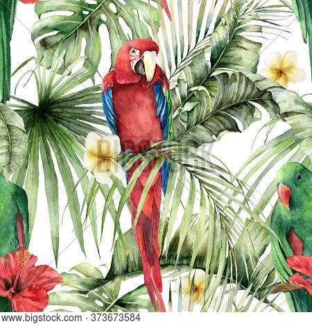 Watercolor Tropical Seamless Pattern With Parrots, Hibiscus And Plumeria. Hand Painted Birds, Flower