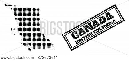 Halftone Map Of British Columbia Province, And Scratched Watermark. Halftone Map Of British Columbia