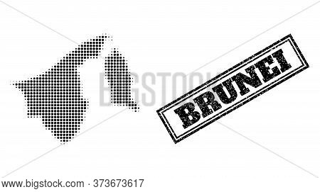 Halftone Map Of Brunei, And Grunge Seal. Halftone Map Of Brunei Generated With Small Black Spheric P