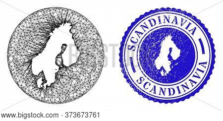 Mesh Hole Round Scandinavia Map And Scratched Seal. Scandinavia Map Is A Hole In A Circle Stamp. Web