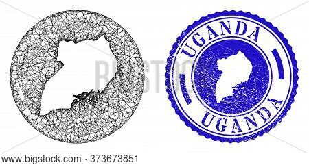 Mesh Subtracted Round Uganda Map And Scratched Seal Stamp. Uganda Map Is A Hole In A Round Stamp Sea