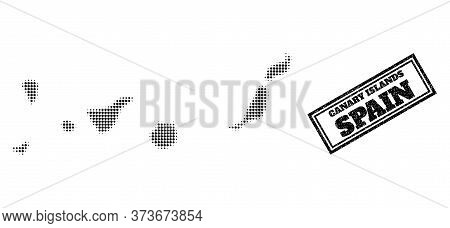Halftone Map Of Canary Islands, And Rubber Stamp. Halftone Map Of Canary Islands Designed With Small
