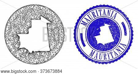 Mesh Subtracted Round Mauritania Map And Grunge Seal Stamp. Mauritania Map Is Stencil In A Circle Se