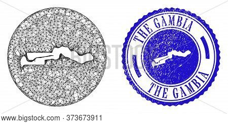 Mesh Stencil Round The Gambia Map And Grunge Seal Stamp. The Gambia Map Is A Hole In A Circle Seal.