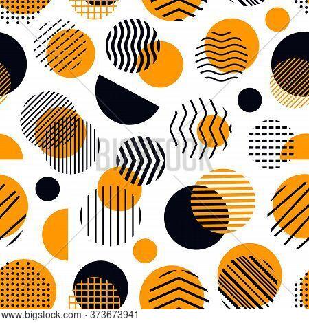 Circle, Polka Dot Seamless Pattern. Mixed Texture Irregular Chaotic Shapes Print. Memphis Stile Geom