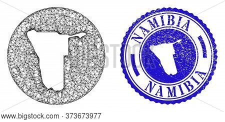 Mesh Hole Round Namibia Map And Scratched Seal. Namibia Map Is A Hole In A Circle Stamp. Web Carcass