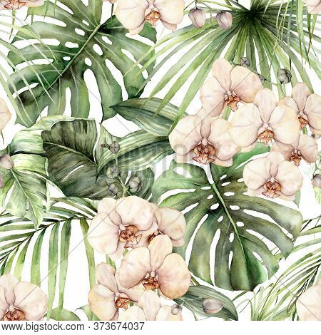 Watercolor Seamless Pattern With Jungle Palm Leaves And Orchids. Hand Painted Exotic Flowers And Lea
