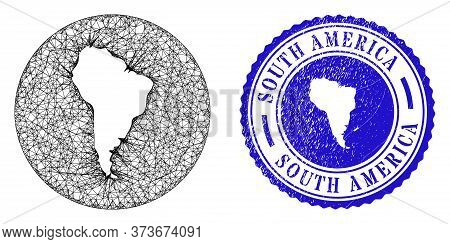 Mesh Hole Round South America Map And Scratched Seal Stamp. South America Map Is A Hole In A Circle