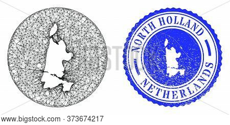 Mesh Subtracted Round North Holland Map And Scratched Seal Stamp. North Holland Map Is Carved In A R
