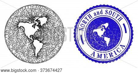 Mesh Hole Round South And North America Map And Grunge Stamp. South And North America Map Is A Hole