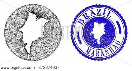 Mesh Subtracted Round Maranhao State Map And Scratched Seal Stamp. Maranhao State Map Is A Hole In A