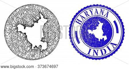 Mesh Subtracted Round Haryana State Map And Scratched Seal Stamp. Haryana State Map Is Inverted In A