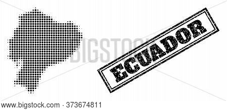 Halftone Map Of Ecuador, And Scratched Seal. Halftone Map Of Ecuador Generated With Small Black Sphe