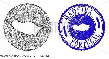 Mesh Inverted Round Madeira Map And Scratched Seal Stamp. Madeira Map Is A Hole In A Circle Stamp. W