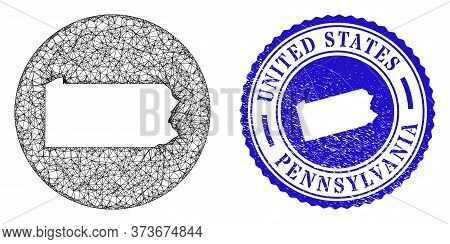Mesh Stencil Round Pennsylvania State Map And Scratched Seal Stamp. Pennsylvania State Map Is A Hole