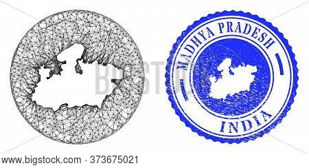 Mesh Stencil Round Madhya Pradesh State Map And Scratched Seal. Madhya Pradesh State Map Is Stencil