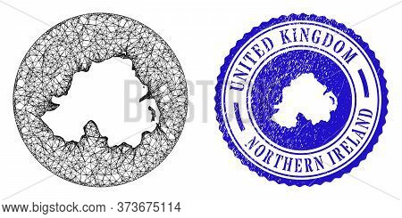Mesh Stencil Round Northern Ireland Map And Scratched Seal. Northern Ireland Map Is A Hole In A Roun