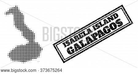 Halftone Map Of Galapagos - Isabela Island, And Grunge Watermark. Halftone Map Of Galapagos - Isabel