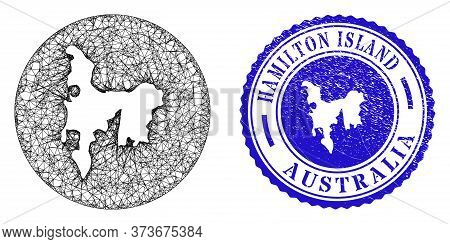 Mesh Hole Round Hamilton Island Map And Grunge Stamp. Hamilton Island Map Is A Hole In A Circle Seal