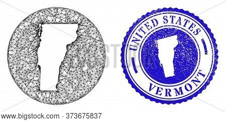 Mesh Inverted Round Vermont State Map And Grunge Stamp. Vermont State Map Is A Hole In A Circle Seal