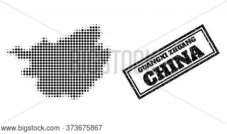 Halftone Map Of Guangxi Zhuang Region, And Textured Seal Stamp. Halftone Map Of Guangxi Zhuang Regio