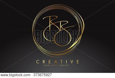 Handwritten Golden Bb Letters Logo With A Minimalist Design. Bb Sign With Golden Circular Circles. C