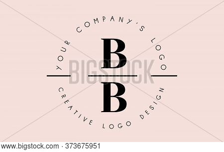 Letters Bb B Logo Set As A Stamp Or Personal Signature. Simple Bb Icon With Circular Name Pattern. C