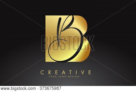 Golden Letters Bb B Logo With A Minimalist Design. Abstract Overlapping Letter B With Geometric And