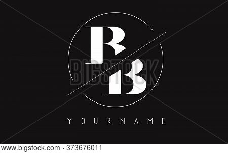 Cut And Intersected Bb B Letters Logo With Round Frame Design Vector Illustration.