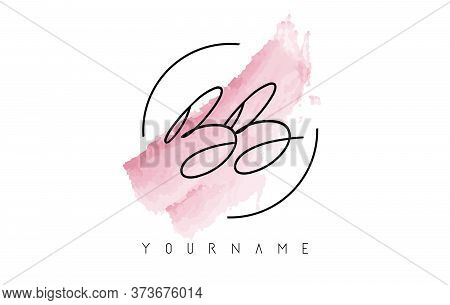 Bb B Letters Logo With Pastel Watercolor Aquarelle Brush Stroke And Circular Rounded Design.