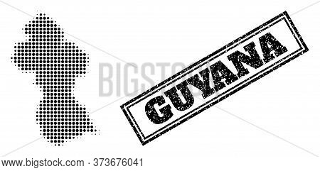 Halftone Map Of Guyana, And Scratched Watermark. Halftone Map Of Guyana Constructed With Small Black