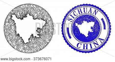 Mesh Stencil Round Sichuan Province Map And Scratched Seal Stamp. Sichuan Province Map Is A Hole In