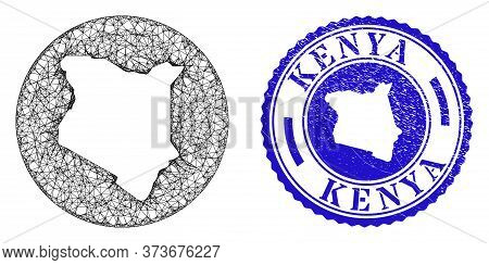 Mesh Hole Round Kenya Map And Scratched Seal Stamp. Kenya Map Is Inverted In A Round Stamp. Web Netw