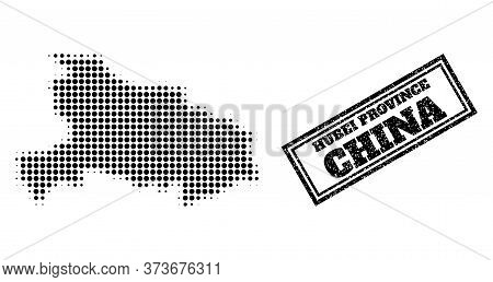 Halftone Map Of Hubei Province, And Unclean Seal Stamp. Halftone Map Of Hubei Province Generated Wit