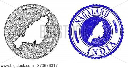 Mesh Hole Round Nagaland State Map And Scratched Seal Stamp. Nagaland State Map Is Inverted In A Rou