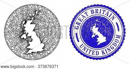 Mesh Hole Round United Kingdom Map And Scratched Stamp. United Kingdom Map Is A Hole In A Circle Sea