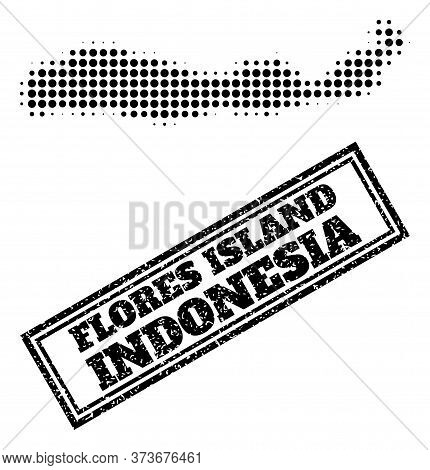 Halftone Map Of Indonesia - Flores Island, And Rubber Seal Stamp. Halftone Map Of Indonesia - Flores