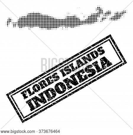 Halftone Map Of Indonesia - Flores Islands, And Textured Seal. Halftone Map Of Indonesia - Flores Is