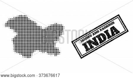 Halftone Map Of Jammu And Kashmir State, And Dirty Seal Stamp. Halftone Map Of Jammu And Kashmir Sta
