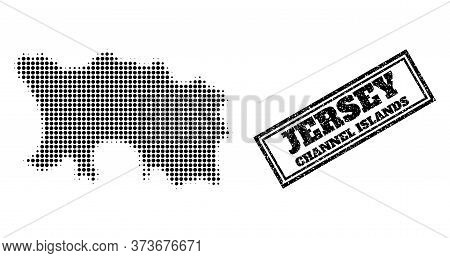 Halftone Map Of Jersey Island, And Dirty Seal. Halftone Map Of Jersey Island Generated With Small Bl