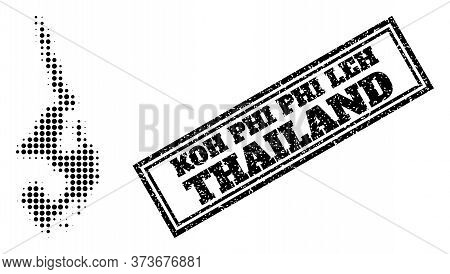 Halftone Map Of Koh Phi Leh, And Grunge Seal. Halftone Map Of Koh Phi Leh Designed With Small Black