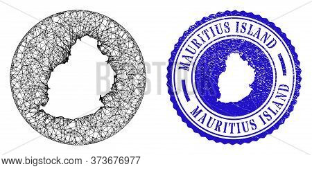 Mesh Stencil Round Mauritius Island Map And Scratched Seal Stamp. Mauritius Island Map Is Carved In