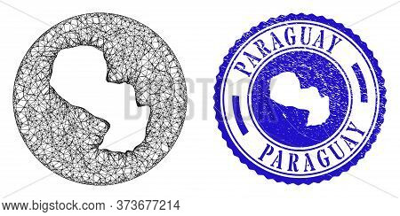 Mesh Stencil Round Paraguay Map And Grunge Seal Stamp. Paraguay Map Is A Hole In A Round Stamp. Web