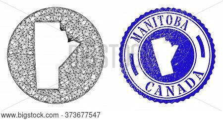 Mesh Hole Round Manitoba Province Map And Scratched Seal Stamp. Manitoba Province Map Is A Hole In A