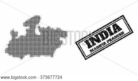 Halftone Map Of Madhya Pradesh State, And Rubber Watermark. Halftone Map Of Madhya Pradesh State Mad