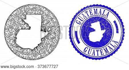 Mesh Stencil Round Guatemala Map And Grunge Stamp. Guatemala Map Is A Hole In A Round Stamp Seal. We