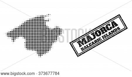 Halftone Map Of Majorca, And Unclean Seal Stamp. Halftone Map Of Majorca Designed With Small Black R